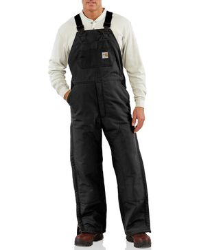 Carhartt Flame Resistant Quilt-Lined Duck Bib Work Overalls, Black, hi-res