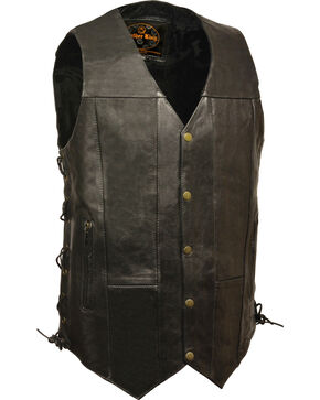 Milwaukee Leather Men's Black 10 Pocket Side Lace Vest - Tall , Black, hi-res