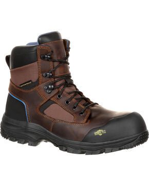 "Georgia Men's Blue Collar 6"" Waterproof Work Boots - Comp Toe, Brown, hi-res"