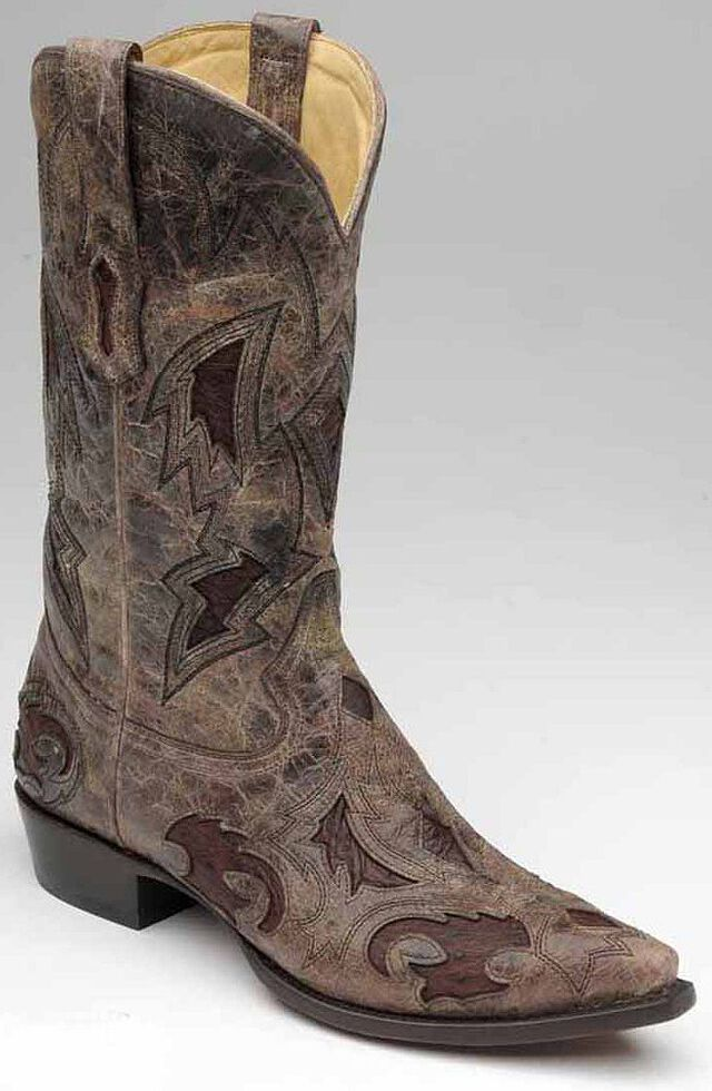Corral Men's Full Quill Ostrich Inlay Cowboy Boots - Snip Toe, Brown, hi-res