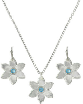 Montana Silversmiths Women's Blue Flower Jewelry Set , Silver, hi-res