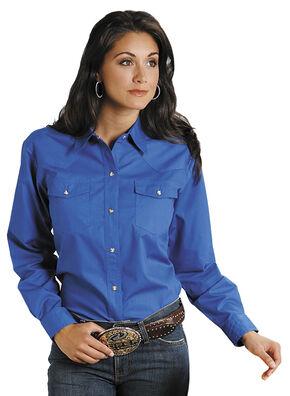 Roper Women's Amarillo Solid Pearl Snap Western Shirt, Royal, hi-res