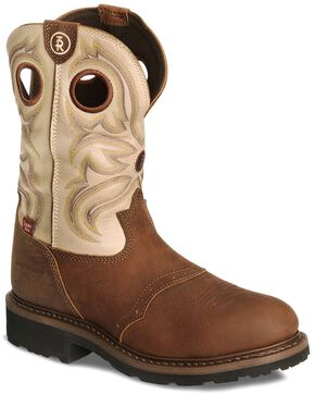 Tony Lama 3R Pull-On Waterproof Work Boots - Steel Toe, Sienna, hi-res