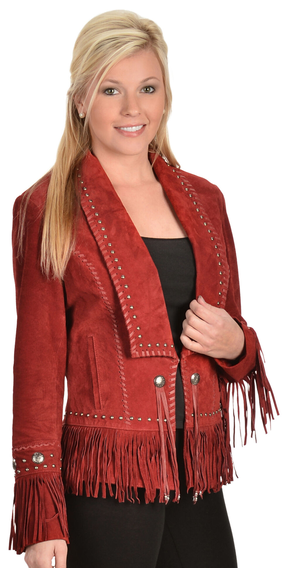 Scully Long Lapel Suede Fringe Jacket, Red, hi-res