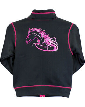 Cowgirl Hardware Infant/Toddler Girls' Horse Full Zip Jacket, Black, hi-res