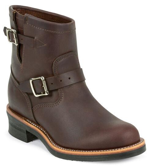 "Chippewa Men's Cordovan Cognac 7"" Engineer Boots - Round Toe, Cognac, hi-res"