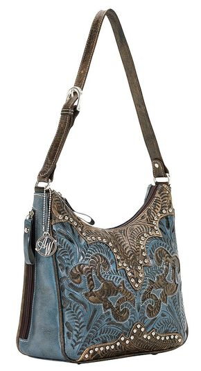 American West Annie's Secret Zip Top Shoulder Bag, Blue, hi-res
