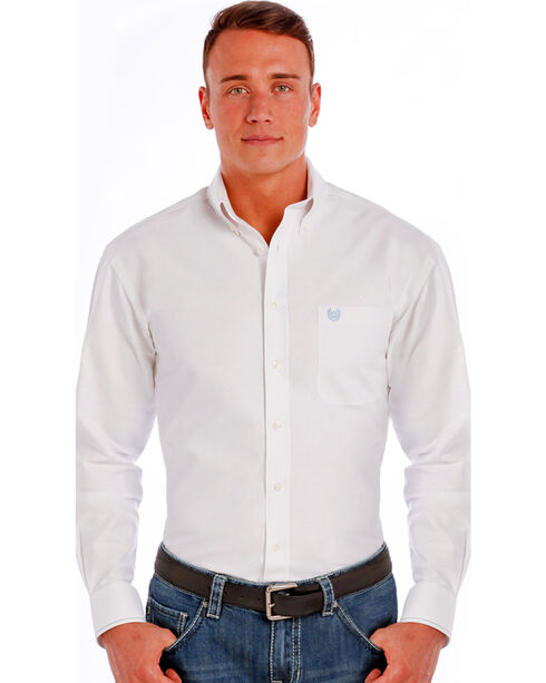 Rough Stock by Panhandle Men's Button Down Long Sleeve Shirt, White, hi-res