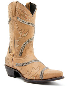 Laredo Men's Bucklace Western Boots - Snip Toe, Tan, hi-res
