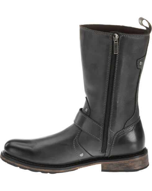 "Harley Davidson Men's Brendan 10"" Leather Motorcycle Boots  - Round Toe, Black, hi-res"