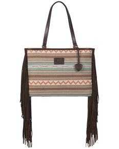 Ariat Women's Fringe Serape Wide Tote Bag, No Color, hi-res