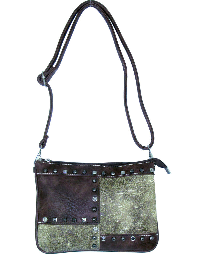 Savana Women's Fuax Leather Patchwork Crossbody Bag , Cream, hi-res