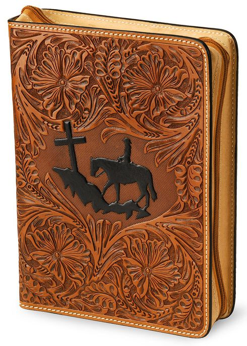 3D Cross Mountain Leather Bible Cover, Tan, hi-res