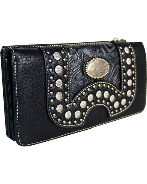 Montana West Women's Concho Secretary Style Wallet, Black, hi-res