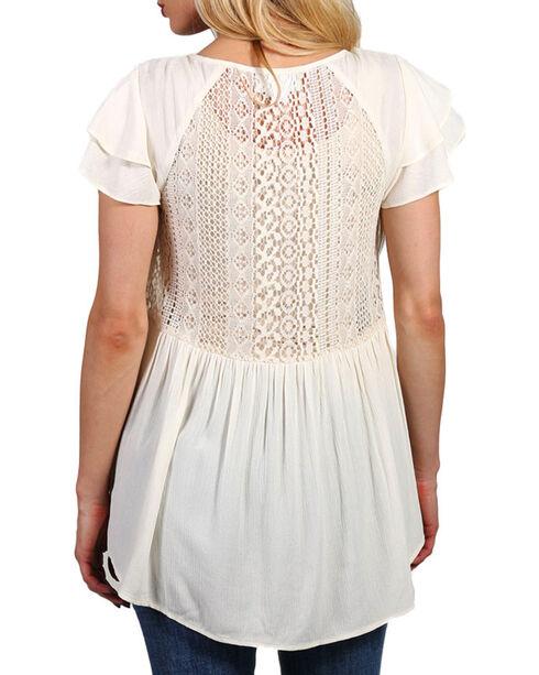 Shyanne Women's Crochet Lace Babydoll Top , White, hi-res