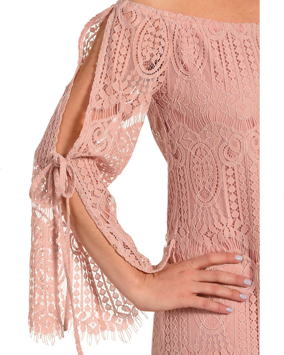 Young Essence Women's Lace Off The Shoulder Dress, Mauve, hi-res