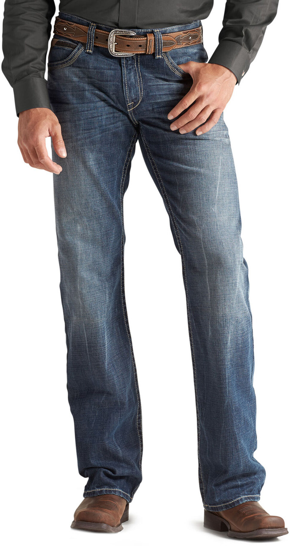 Ariat M4 Cliffhanger Medium Wash Jeans, Med Stone, hi-res