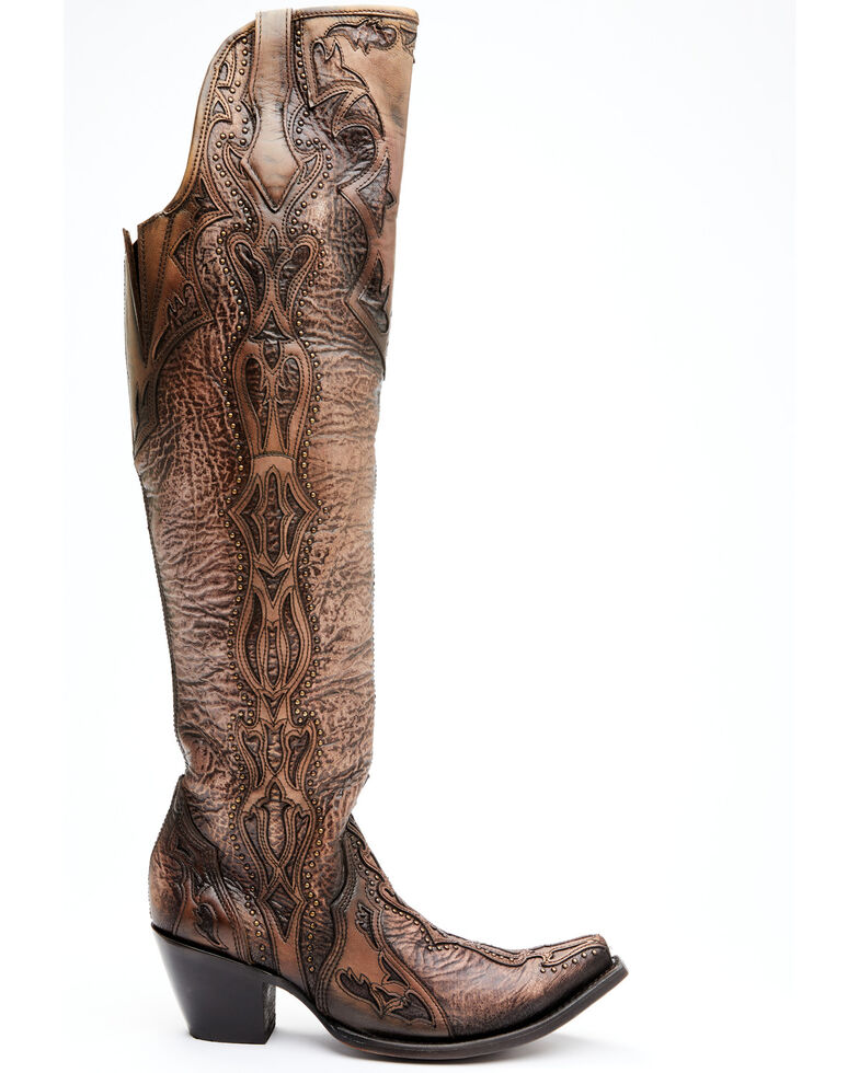 Corral Women's Chocolate Overlay & Embroidery Western Boots - Snip Toe, Chocolate, hi-res