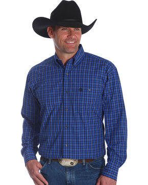 Wrangler Men's Blue George Strait Checkered Print Shirt , Blue, hi-res