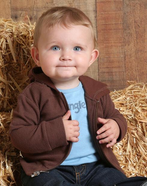 Wrangler Infant Boys' Hoodie with Back Logo, Brown, hi-res