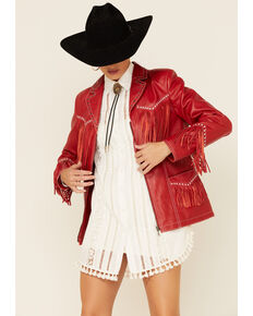 Circle S Studded Fringe Jacket, Red, hi-res