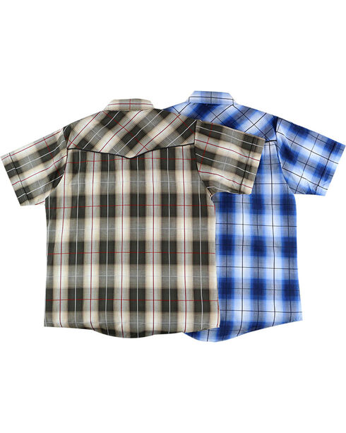 Ely Cattleman Boys' Assorted Textured Plaid Short Sleeve Shirt, Multi, hi-res