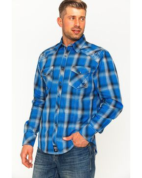 Rock 47 by Wrangler Men's Plaid Two Pocket Snap Shirt, Blue, hi-res