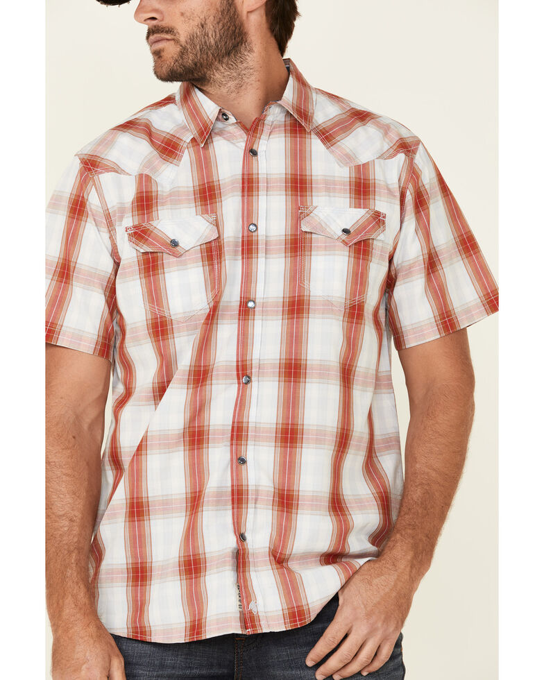 Moonshine Spirit Men's Fire Cracker Large Plaid Short Sleeve Western Shirt , Light Blue, hi-res