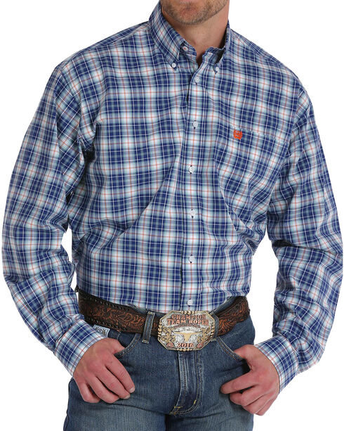 Cinch Men's Navy Plaid Long Sleeve Button Down Shirt - Big , Navy, hi-res