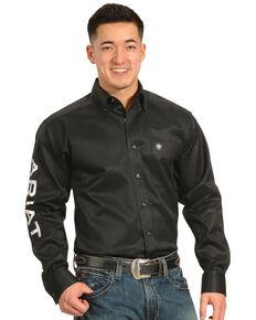 Ariat Men's Black Logo Long Sleeve Western Shirt - Big & Tall , Black, hi-res
