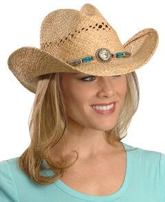 Blazin Roxx Faux Turquoise Stone Bling Raffia Straw Cowgirl Hat, Natural, hi-res
