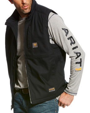 Ariat Men's Black Rebar DuraCanvas Vest, Black, hi-res