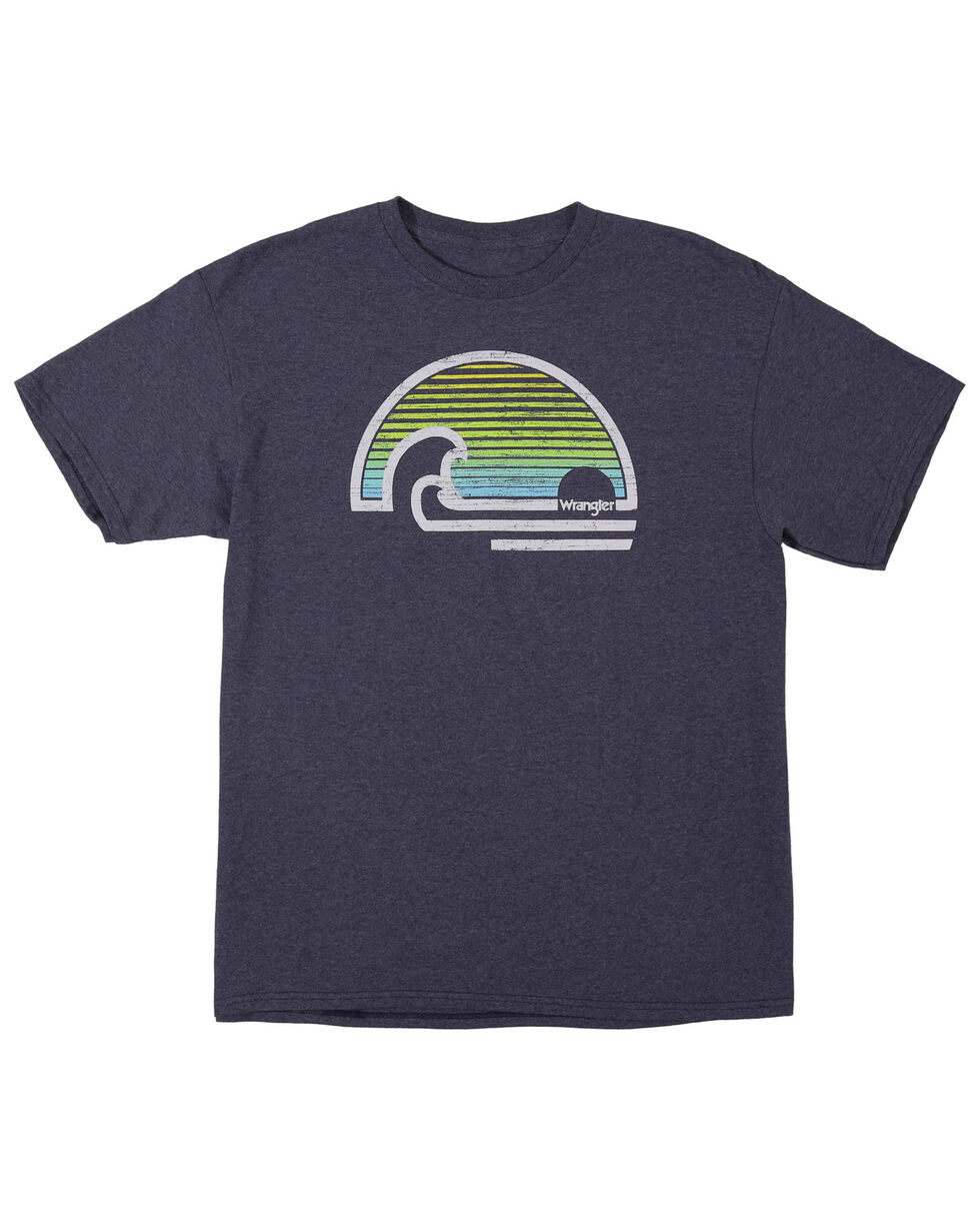 Wrangler Men's Breaking Waves Screen Print T-Shirt, Heather Blue, hi-res