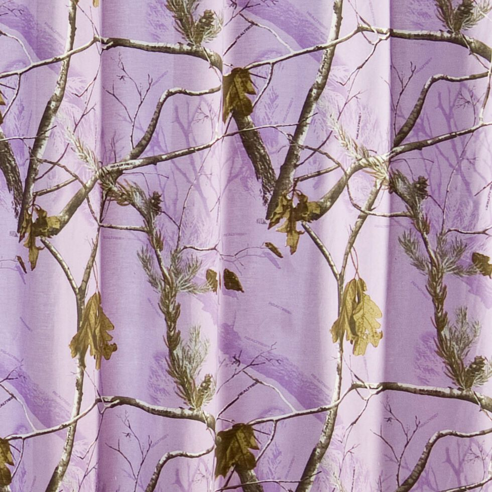 Realtree Lavender Camo Shower Curtain, Camouflage, hi-res