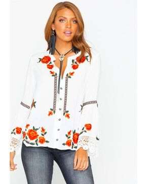 Tasha Polizzi Women's Margarete Embroidered Blouse , Ivory, hi-res