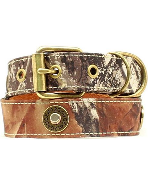 Double Barrel Camo Shotgun Shell Concho Dog Collar - XS-XL, Mossy Oak, hi-res