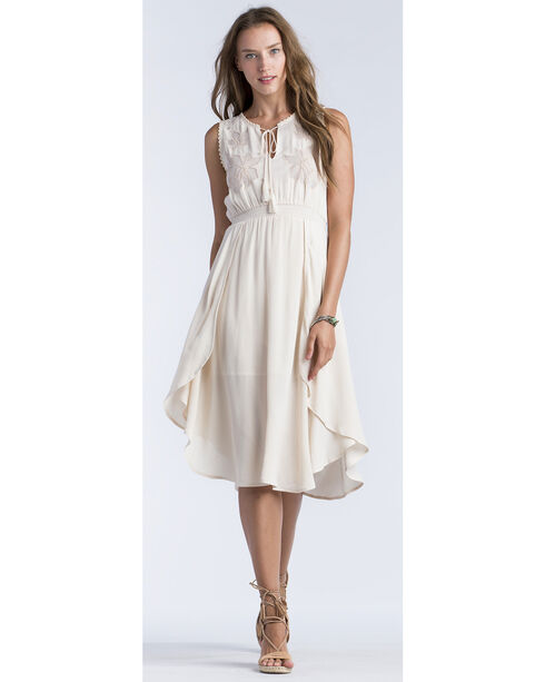 Miss Me Women's Taupe Laced Yoke Floral Cut Dress , Taupe, hi-res