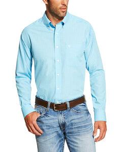Ariat Men's Light Blue Hewbert Long Sleeve Western Shirt , Light Blue, hi-res