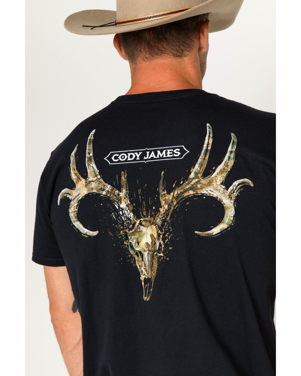 Cody James Men's Camo Deer Skull Tee, Black, hi-res