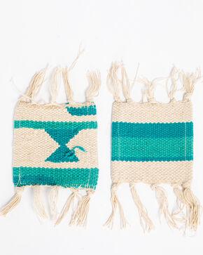 BB Ranch 4 Set Aztec Coasters, Turquoise, hi-res