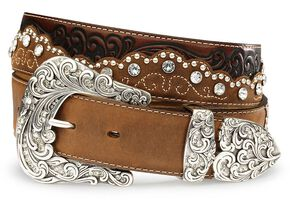 Tony Lama Kaitlyn Crystal Leather Western Belt, Brown, hi-res
