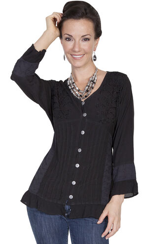 Scully Women's Corset Lace Blouse, Black, hi-res
