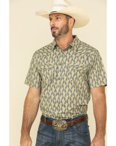 Moonshine Spirit Men's Montage Floral Geo Print Short Sleeve Western Shirt , Blue, hi-res