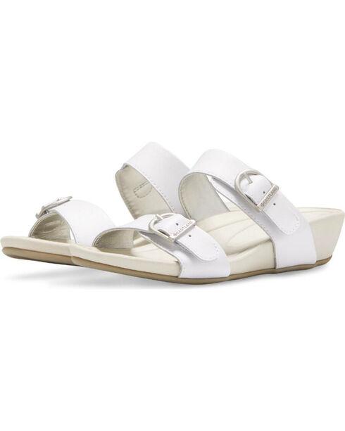 Eastland Women's White Cape Ann Buckle Slide Sandals , White, hi-res