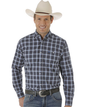 Wrangler Men's Navy & White One Pocket Plaid Western Shirt , Blue, hi-res