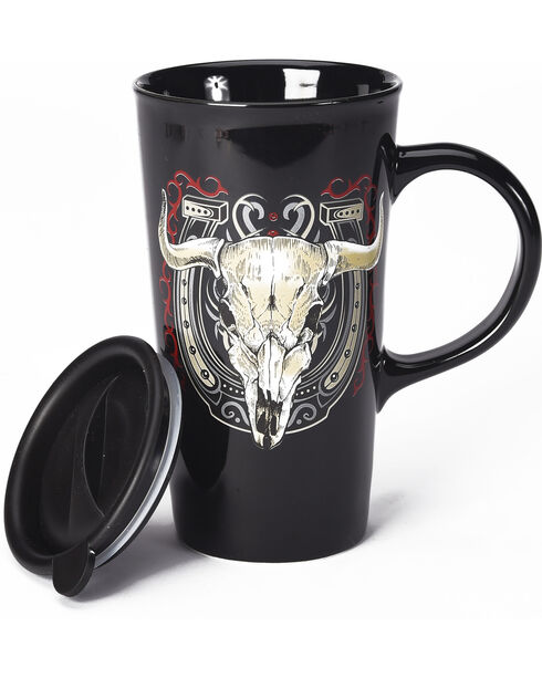 BB Ranch Cowboy Cow Skull Travel Mug, Black, hi-res