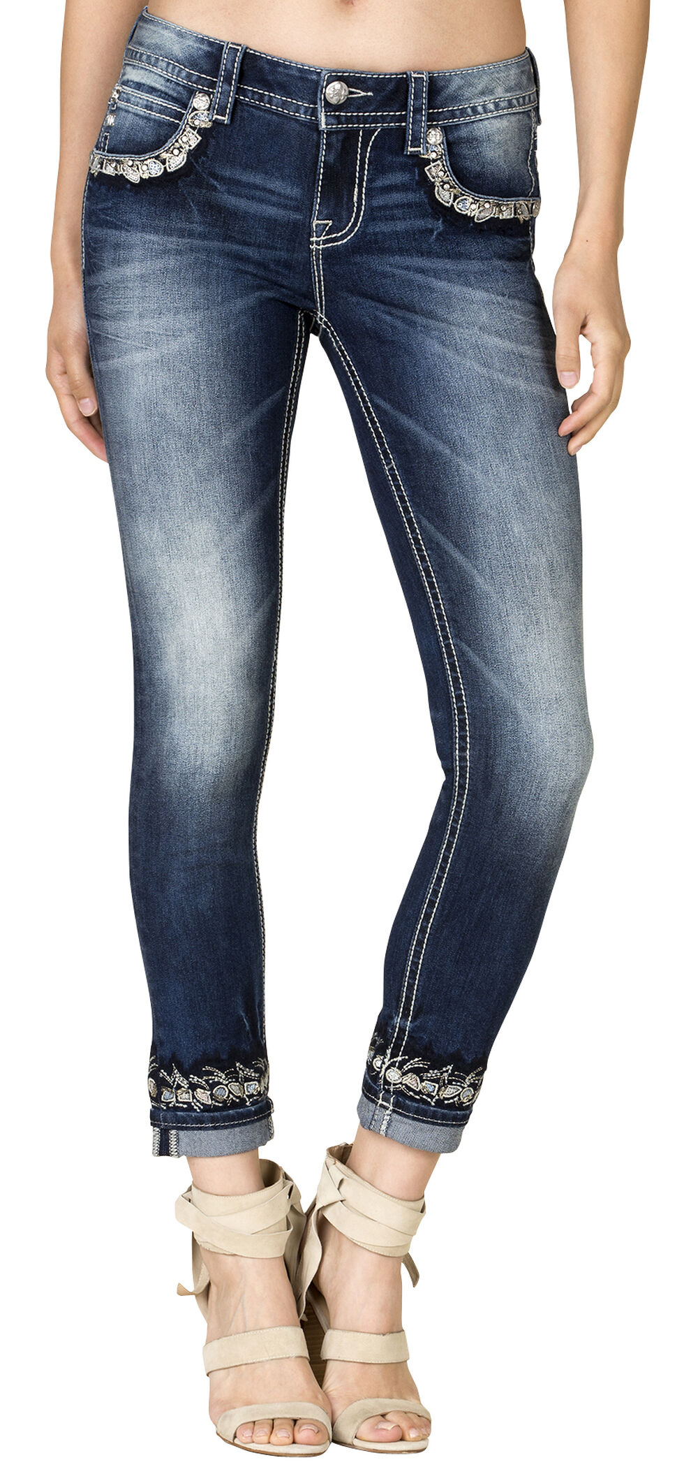 Miss Me Women's Hidden Charm Mid-Rise Cuffed Skinny Jeans, Blue, hi-res