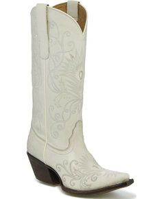 Tony Lama Women's Athos Plush Ivory Embroidered Cowgirl Boots - Snip Toe, Ivory, hi-res