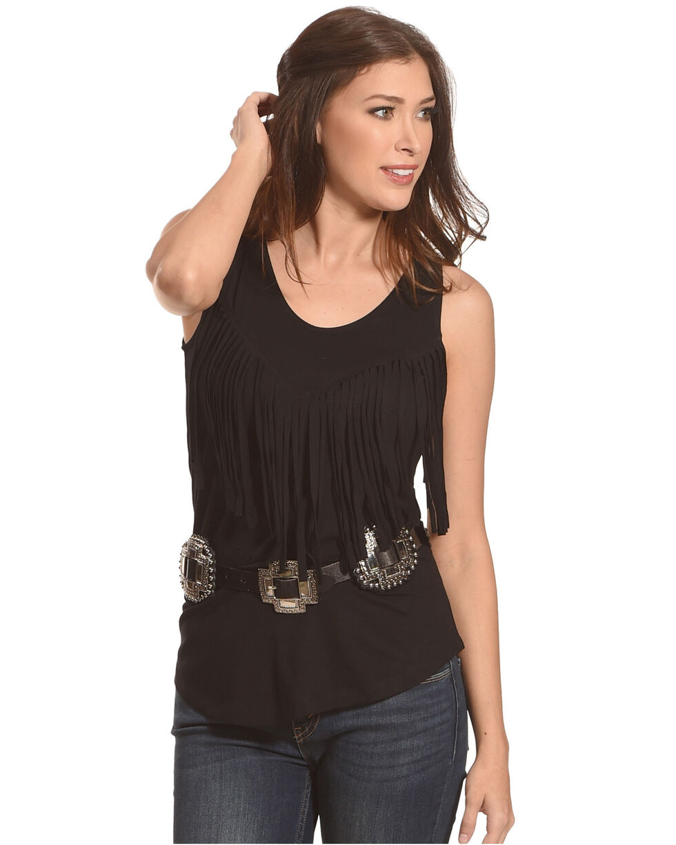 Tasha Polizzi Women's Black Dude Ranch Tank Top , Black, hi-res