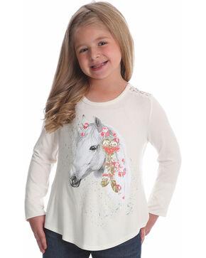 Wrangler Girls' Ivory Glitter Horse Graphic Tee , Ivory, hi-res